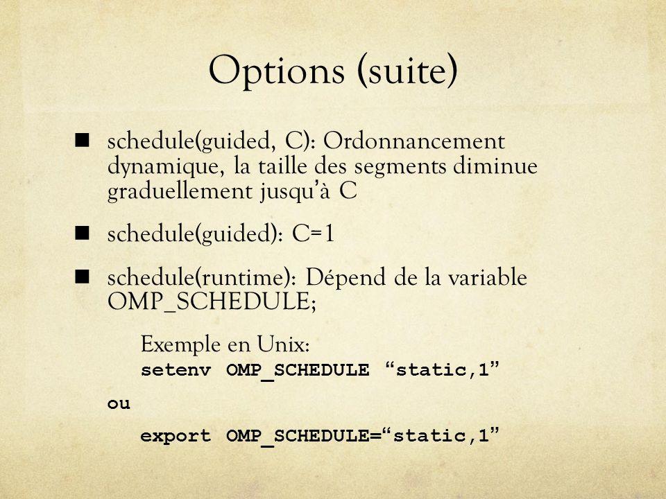 Options (suite) schedule(guided, C): Ordonnancement dynamique, la taille des segments diminue graduellement jusquà C schedule(guided): C=1 schedule(runtime): Dépend de la variable OMP_SCHEDULE; Exemple en Unix: setenv OMP_SCHEDULE static,1 ou export OMP_SCHEDULE=static,1