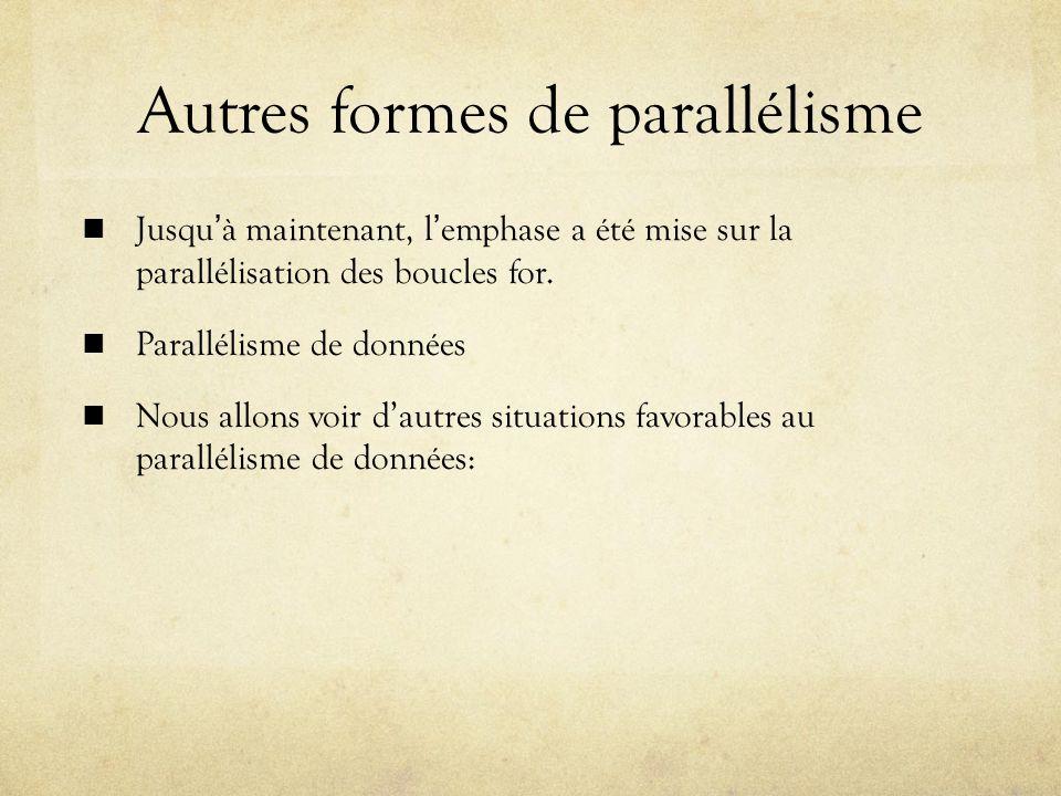 Autres formes de parallélisme Jusquà maintenant, lemphase a été mise sur la parallélisation des boucles for.