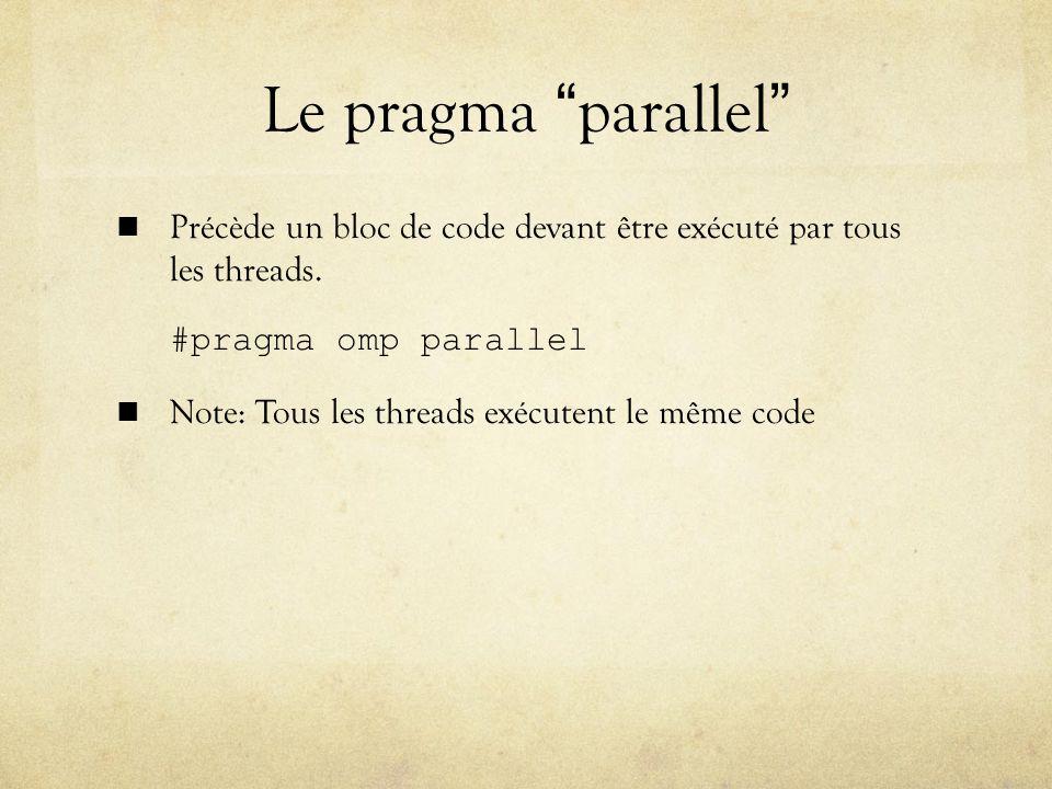 Le pragma parallel Précède un bloc de code devant être exécuté par tous les threads.