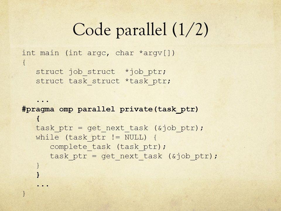 Code parallel (1/2) int main (int argc, char *argv[]) { struct job_struct *job_ptr; struct task_struct *task_ptr;...