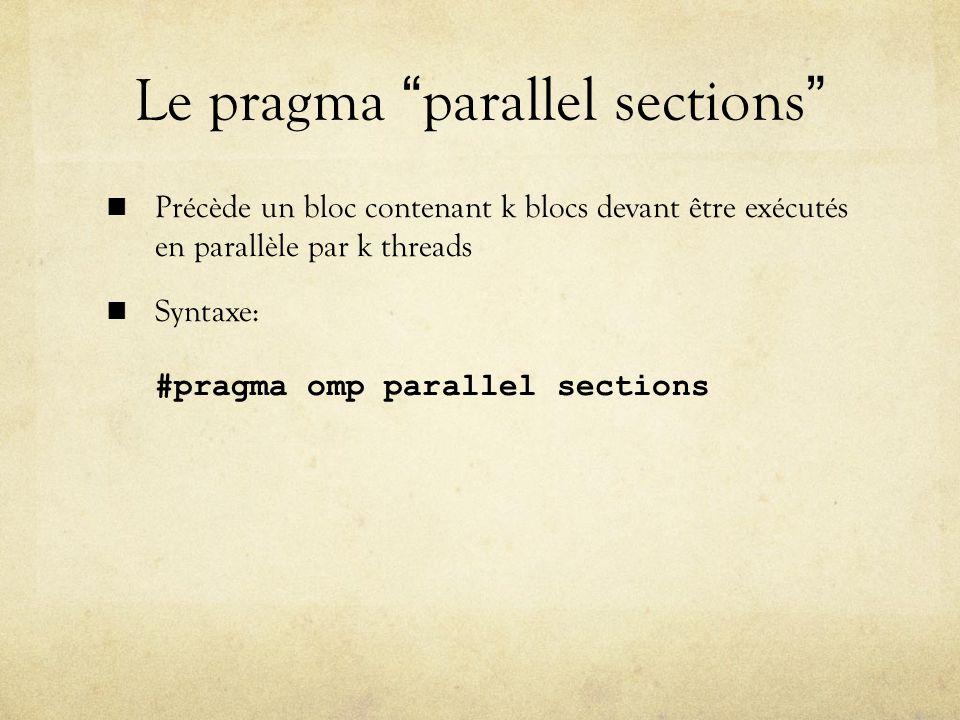 Le pragma parallel sections Précède un bloc contenant k blocs devant être exécutés en parallèle par k threads Syntaxe: #pragma omp parallel sections