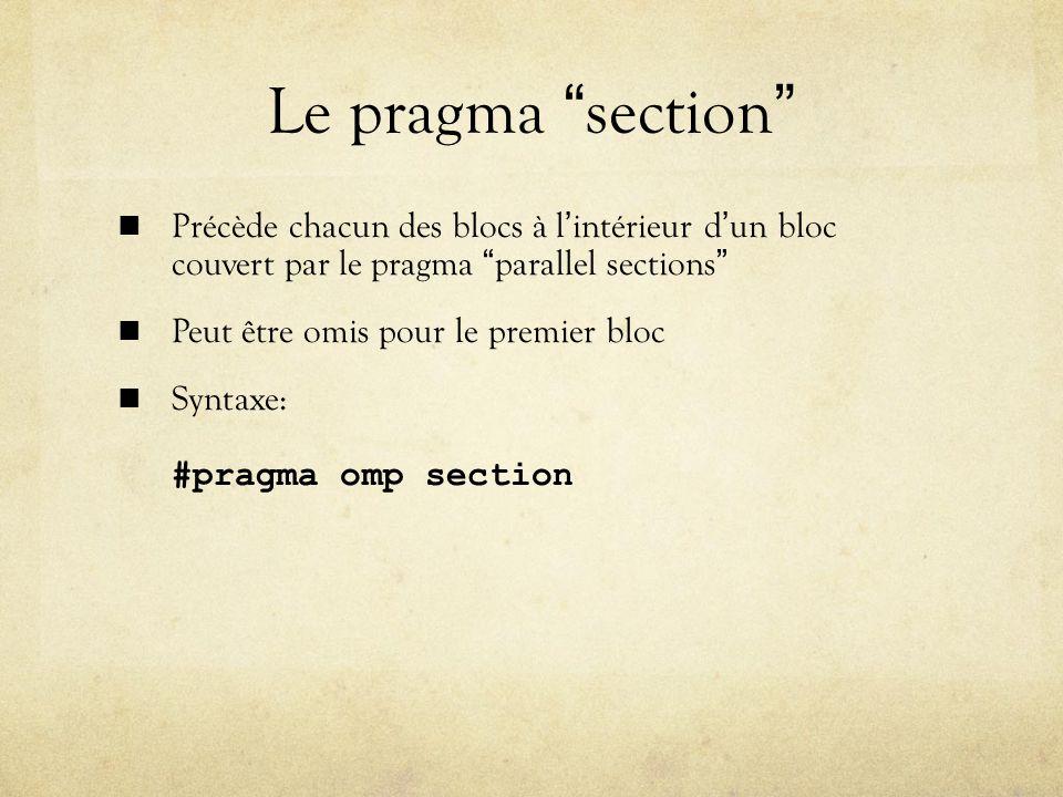 Le pragma section Précède chacun des blocs à lintérieur dun bloc couvert par le pragma parallel sections Peut être omis pour le premier bloc Syntaxe: #pragma omp section