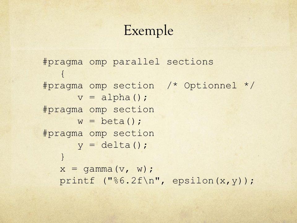 Exemple #pragma omp parallel sections { #pragma omp section /* Optionnel */ v = alpha(); #pragma omp section w = beta(); #pragma omp section y = delta(); } x = gamma(v, w); printf ( %6.2f\n , epsilon(x,y));