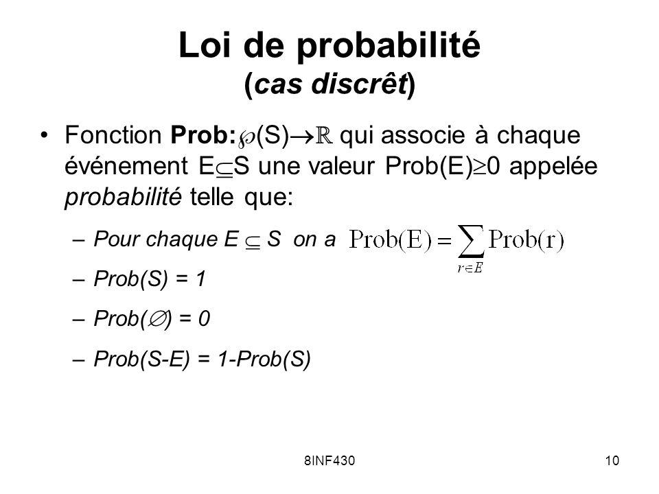 8INF43010 Loi de probabilité (cas discrêt) Fonction Prob: (S) qui associe à chaque événement E S une valeur Prob(E) 0 appelée probabilité telle que: –