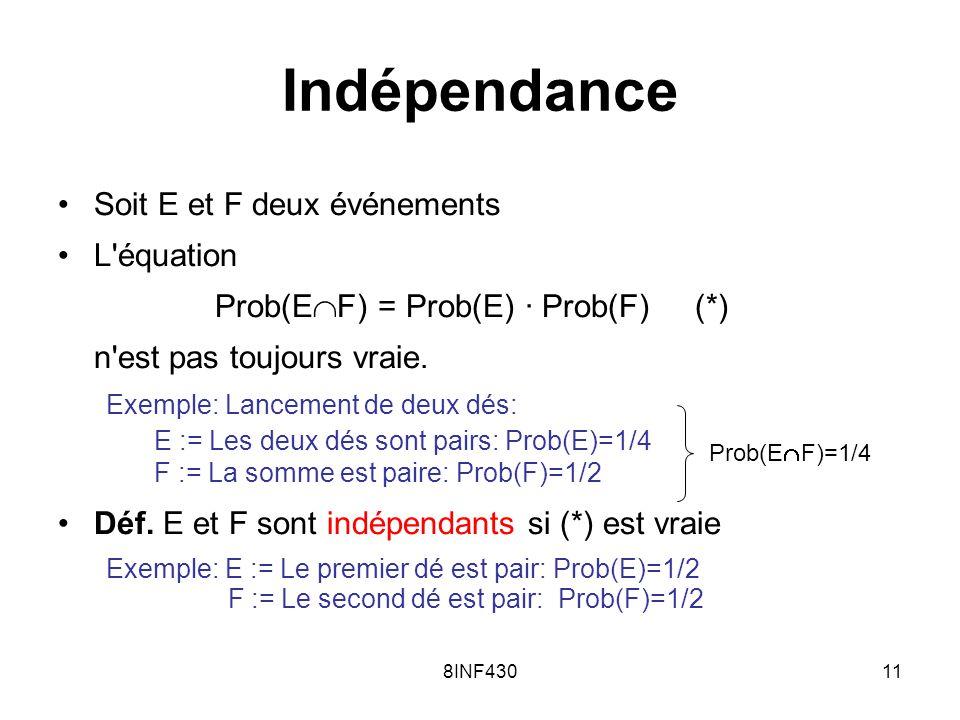 8INF43011 Indépendance Soit E et F deux événements L'équation Prob(E F) = Prob(E) · Prob(F) (*) n'est pas toujours vraie. Exemple: Lancement de deux d
