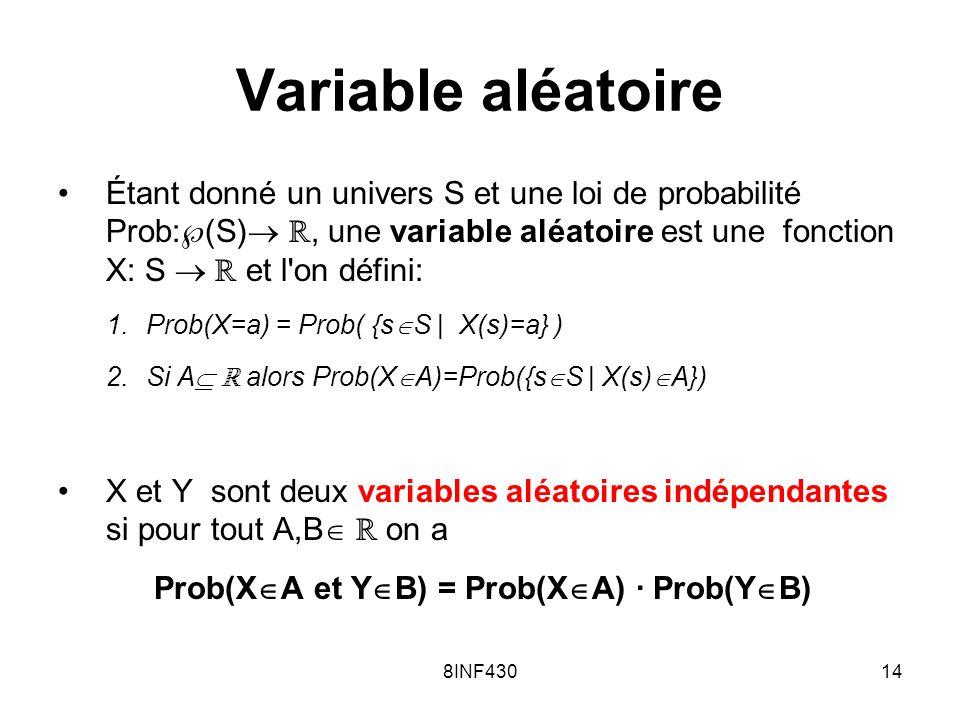 8INF43014 Variable aléatoire Étant donné un univers S et une loi de probabilité Prob: (S), une variable aléatoire est une fonction X: S et l'on défini