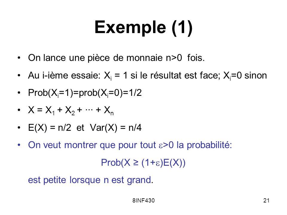 8INF43021 Exemple (1) On lance une pièce de monnaie n>0 fois. Au i-ième essaie: X i = 1 si le résultat est face; X i =0 sinon Prob(X i =1)=prob(X i =0