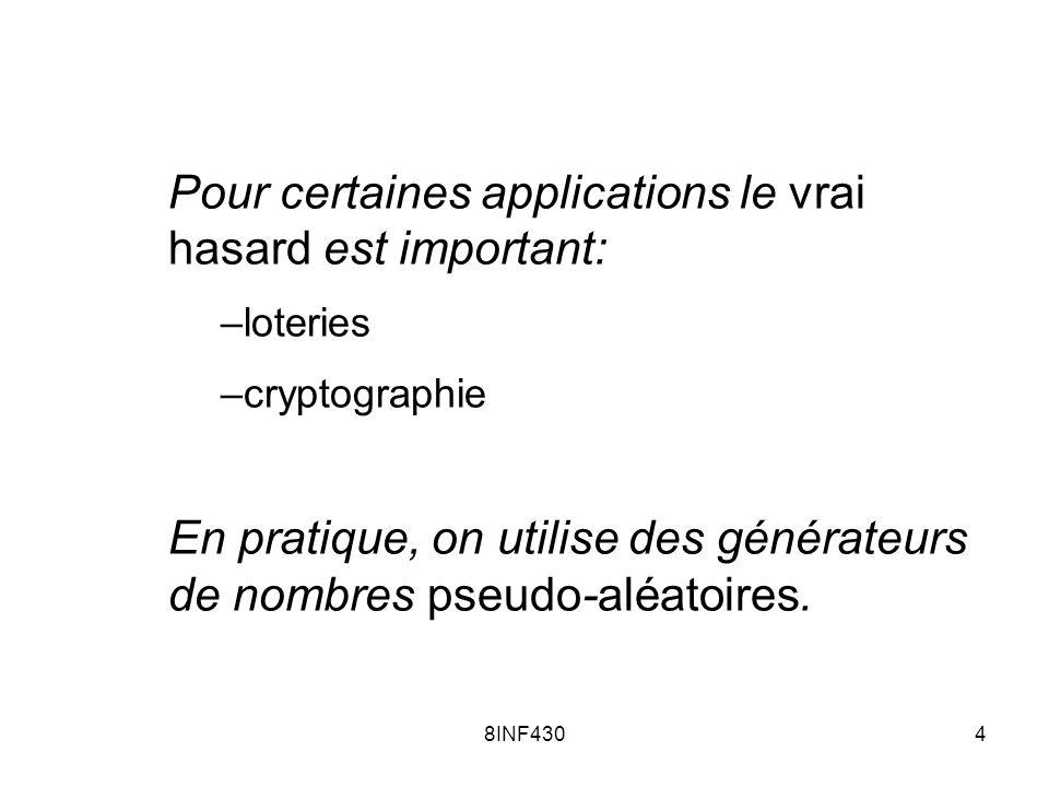 8INF4304 Pour certaines applications le vrai hasard est important: –loteries –cryptographie En pratique, on utilise des générateurs de nombres pseudo-
