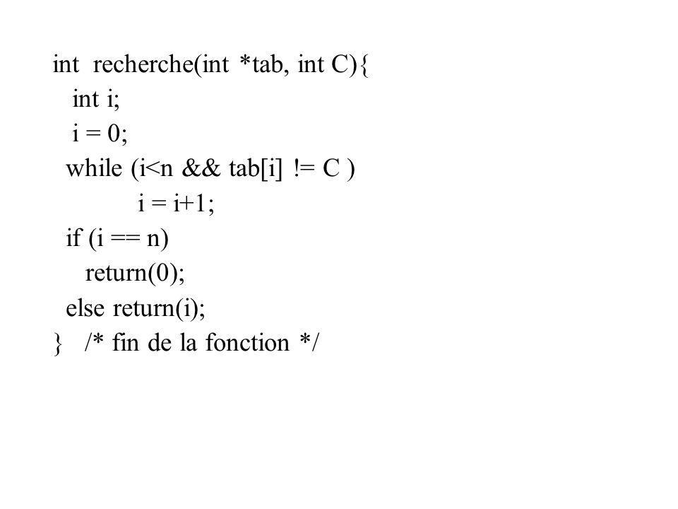 int recherche(int *tab, int C){ int i; i = 0; while (i<n && tab[i] != C ) i = i+1; if (i == n) return(0); else return(i); } /* fin de la fonction */