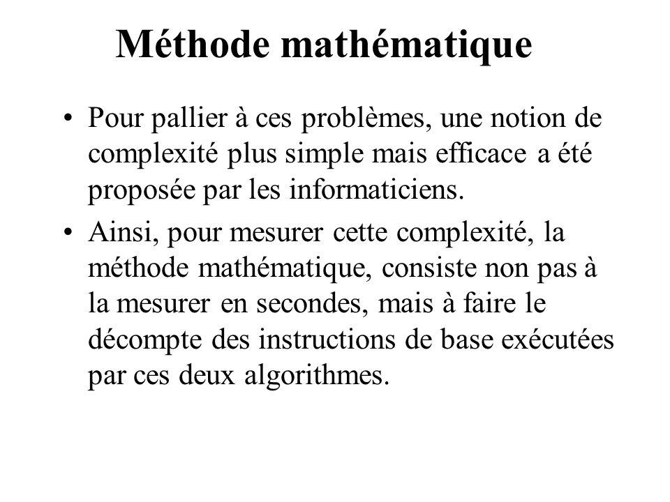 Méthode mathématique Pour pallier à ces problèmes, une notion de complexité plus simple mais efficace a été proposée par les informaticiens.