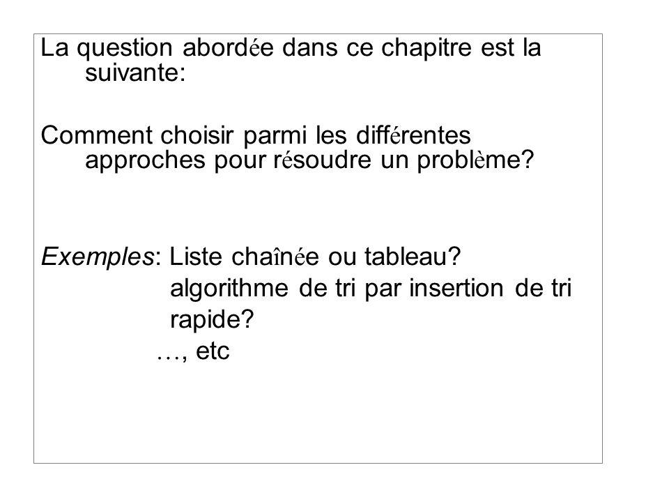 La question abord é e dans ce chapitre est la suivante: Comment choisir parmi les diff é rentes approches pour r é soudre un probl è me.