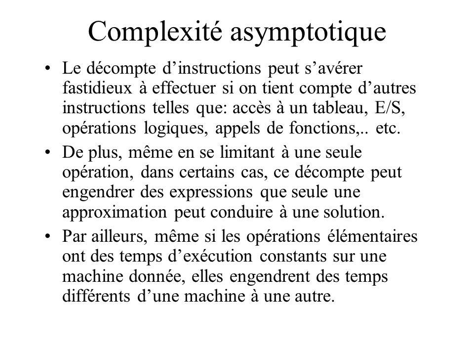 Complexité asymptotique Le décompte dinstructions peut savérer fastidieux à effectuer si on tient compte dautres instructions telles que: accès à un tableau, E/S, opérations logiques, appels de fonctions,..