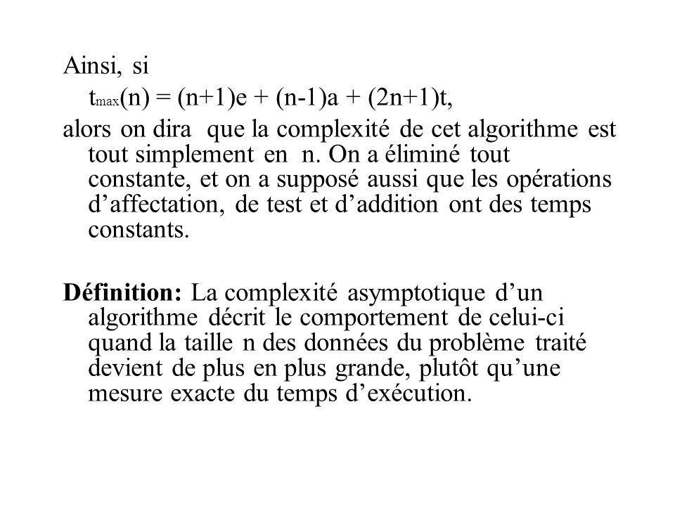 Ainsi, si t max (n) = (n+1)e + (n-1)a + (2n+1)t, alors on dira que la complexité de cet algorithme est tout simplement en n.