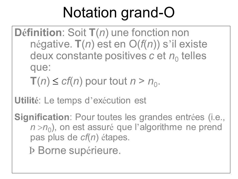 Notation grand-O La notation grand-O indique une borne sup é rieure sur le temps d ex é cution.