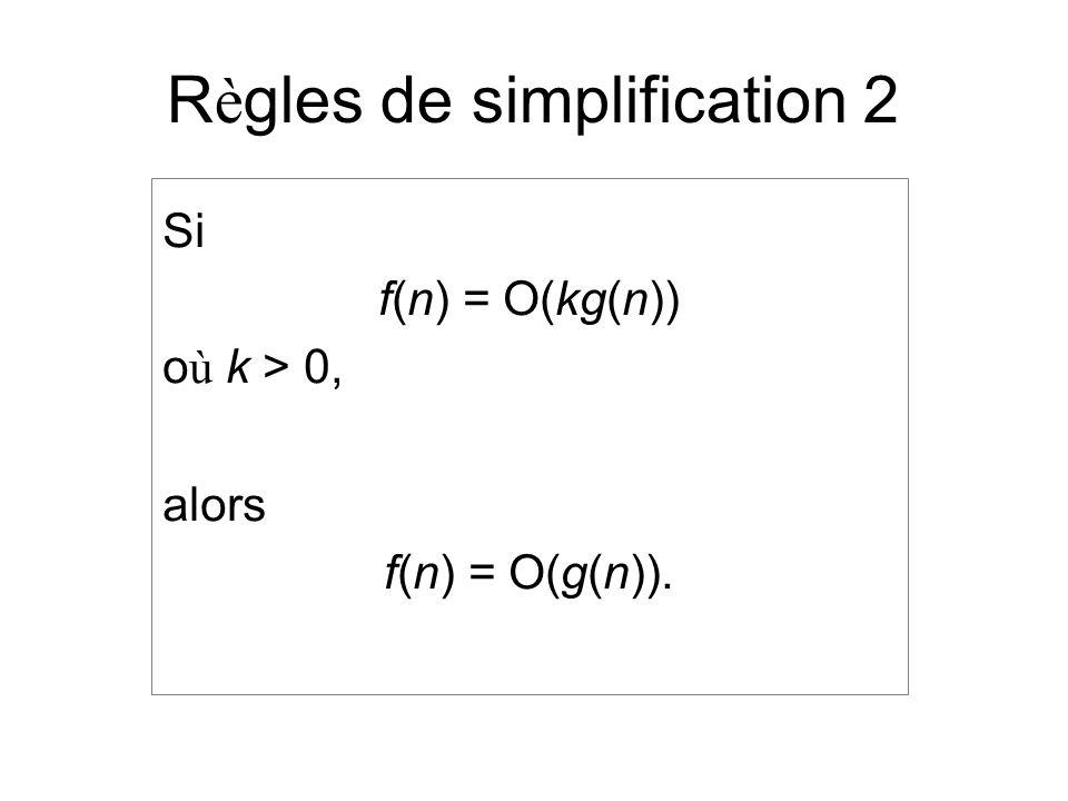 R è gles de simplification 2 Si f(n) = O(kg(n)) o ù k > 0, alors f(n) = O(g(n)).