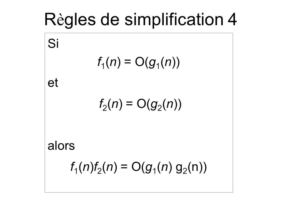 R è gles de simplification 4 Si f 1 (n) = O(g 1 (n)) et f 2 (n) = O(g 2 (n)) alors f 1 (n)f 2 (n) = O(g 1 (n) g 2 (n))