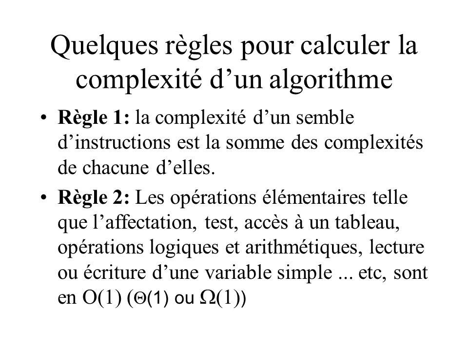 Quelques règles pour calculer la complexité dun algorithme Règle 1: la complexité dun semble dinstructions est la somme des complexités de chacune delles.
