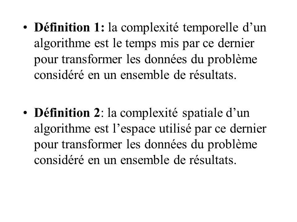 Définition 1: la complexité temporelle dun algorithme est le temps mis par ce dernier pour transformer les données du problème considéré en un ensemble de résultats.