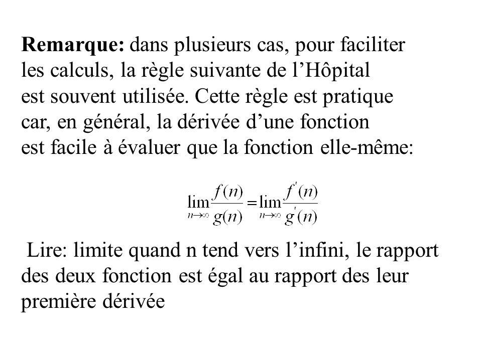 Remarque: dans plusieurs cas, pour faciliter les calculs, la règle suivante de lHôpital est souvent utilisée.