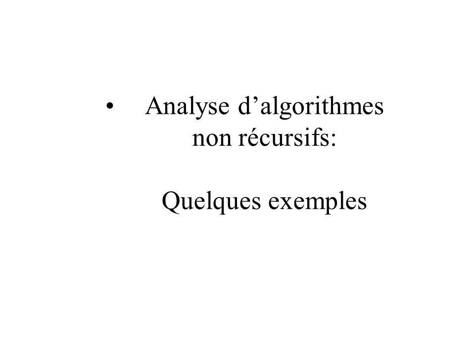 Analyse dalgorithmes non récursifs: Quelques exemples