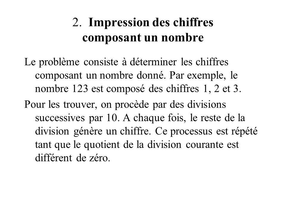 2. Impression des chiffres composant un nombre Le problème consiste à déterminer les chiffres composant un nombre donné. Par exemple, le nombre 123 es