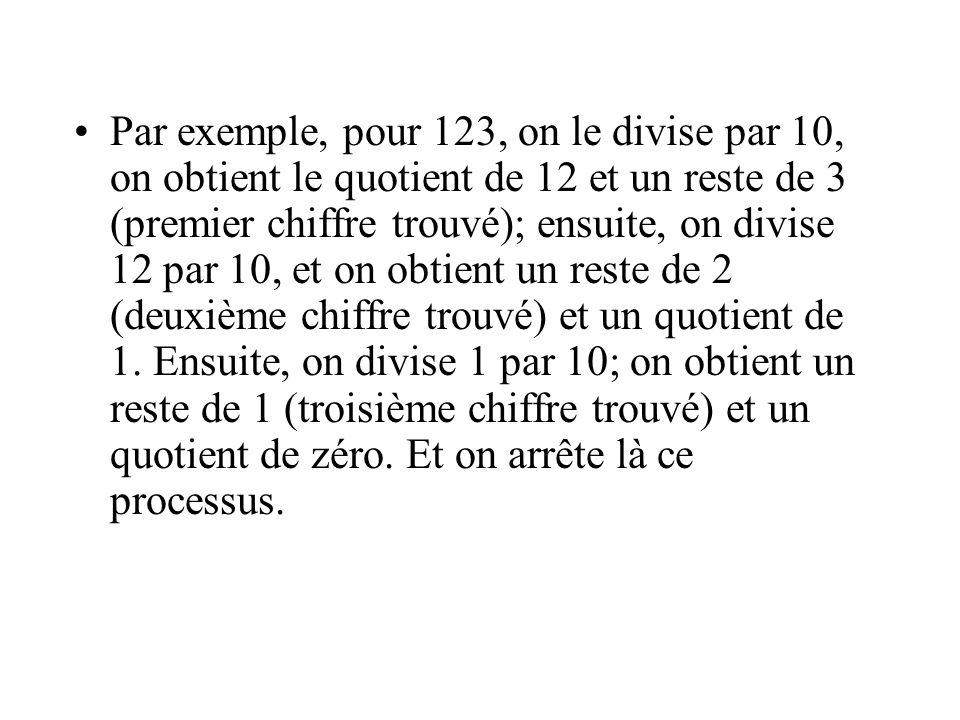 Par exemple, pour 123, on le divise par 10, on obtient le quotient de 12 et un reste de 3 (premier chiffre trouvé); ensuite, on divise 12 par 10, et on obtient un reste de 2 (deuxième chiffre trouvé) et un quotient de 1.