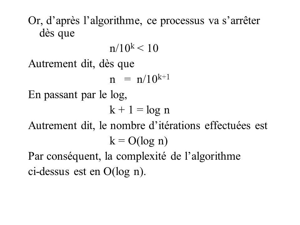 Or, daprès lalgorithme, ce processus va sarrêter dès que n/10 k < 10 Autrement dit, dès que n = n/10 k+1 En passant par le log, k + 1 = log n Autrement dit, le nombre ditérations effectuées est k = O(log n) Par conséquent, la complexité de lalgorithme ci-dessus est en O(log n).