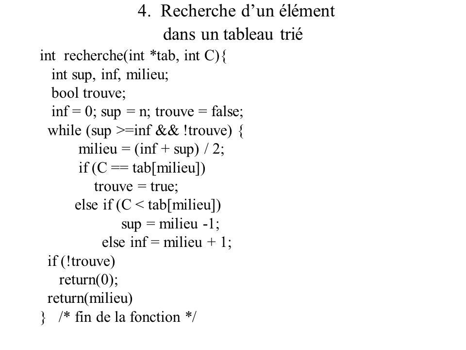 4. Recherche dun élément dans un tableau trié int recherche(int *tab, int C){ int sup, inf, milieu; bool trouve; inf = 0; sup = n; trouve = false; whi