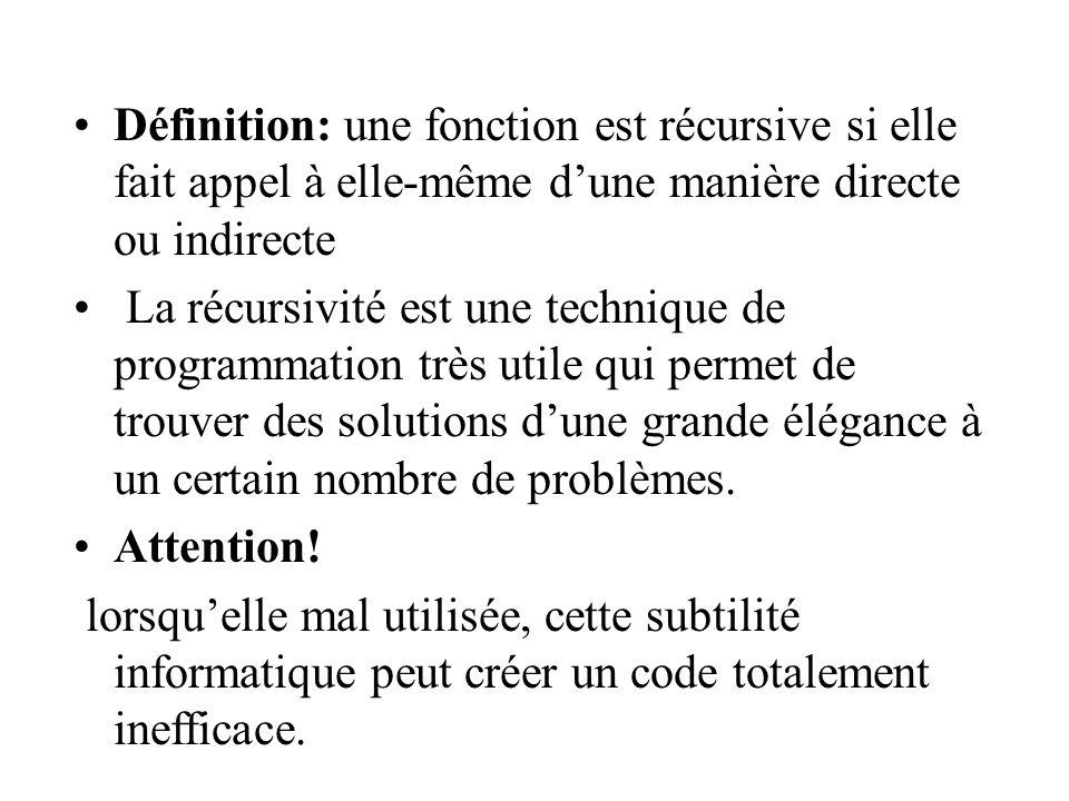 Définition: une fonction est récursive si elle fait appel à elle-même dune manière directe ou indirecte La récursivité est une technique de programmation très utile qui permet de trouver des solutions dune grande élégance à un certain nombre de problèmes.