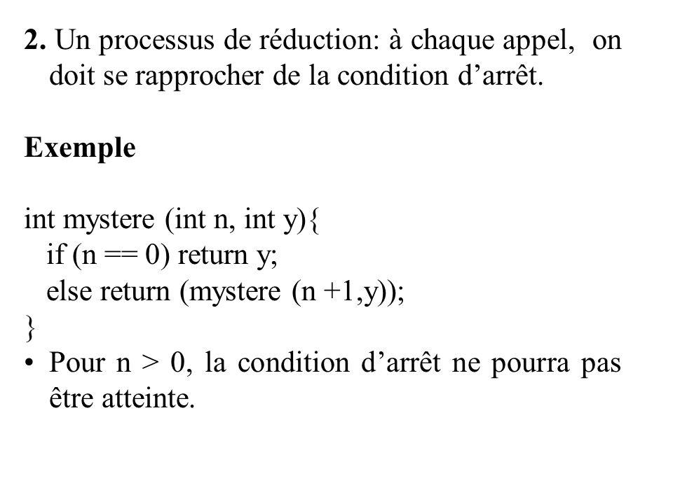 2. Un processus de réduction: à chaque appel, on doit se rapprocher de la condition darrêt.