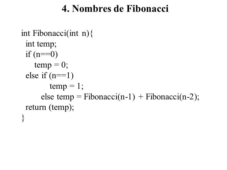 4. Nombres de Fibonacci int Fibonacci(int n){ int temp; if (n==0) temp = 0; else if (n==1) temp = 1; else temp = Fibonacci(n-1) + Fibonacci(n-2); retu