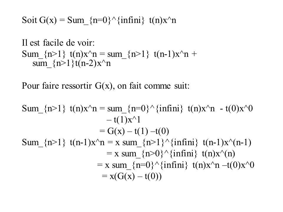 Soit G(x) = Sum_{n=0}^{infini} t(n)x^n Il est facile de voir: Sum_{n>1} t(n)x^n = sum_{n>1} t(n-1)x^n + sum_{n>1}t(n-2)x^n Pour faire ressortir G(x), on fait comme suit: Sum_{n>1} t(n)x^n = sum_{n=0}^{infini} t(n)x^n - t(0)x^0 – t(1)x^1 = G(x) – t(1) –t(0) Sum_{n>1} t(n-1)x^n = x sum_{n>1}^{infini} t(n-1)x^(n-1) = x sum_{n>0}^{infini} t(n)x^(n) = x sum_{n=0}^{infini} t(n)x^n –t(0)x^0 = x(G(x) – t(0))