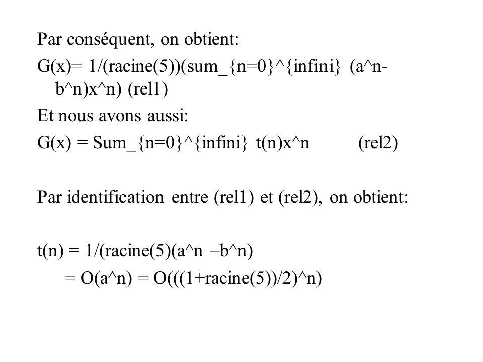 Par conséquent, on obtient: G(x)= 1/(racine(5))(sum_{n=0}^{infini} (a^n- b^n)x^n) (rel1) Et nous avons aussi: G(x) = Sum_{n=0}^{infini} t(n)x^n (rel2) Par identification entre (rel1) et (rel2), on obtient: t(n) = 1/(racine(5)(a^n –b^n) = O(a^n) = O(((1+racine(5))/2)^n)