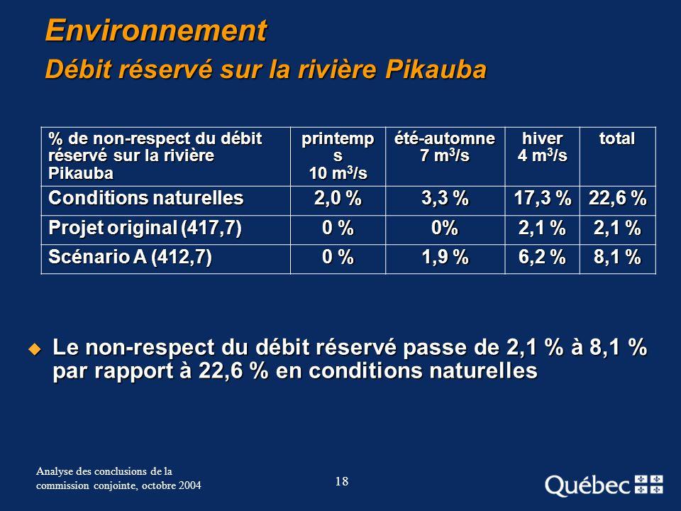 18 Analyse des conclusions de la commission conjointe, octobre 2004 Environnement Débit réservé sur la rivière Pikauba Le non-respect du débit réservé