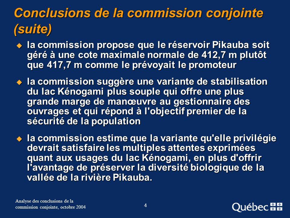 4 Analyse des conclusions de la commission conjointe, octobre 2004 Conclusions de la commission conjointe (suite) la commission propose que le réservo