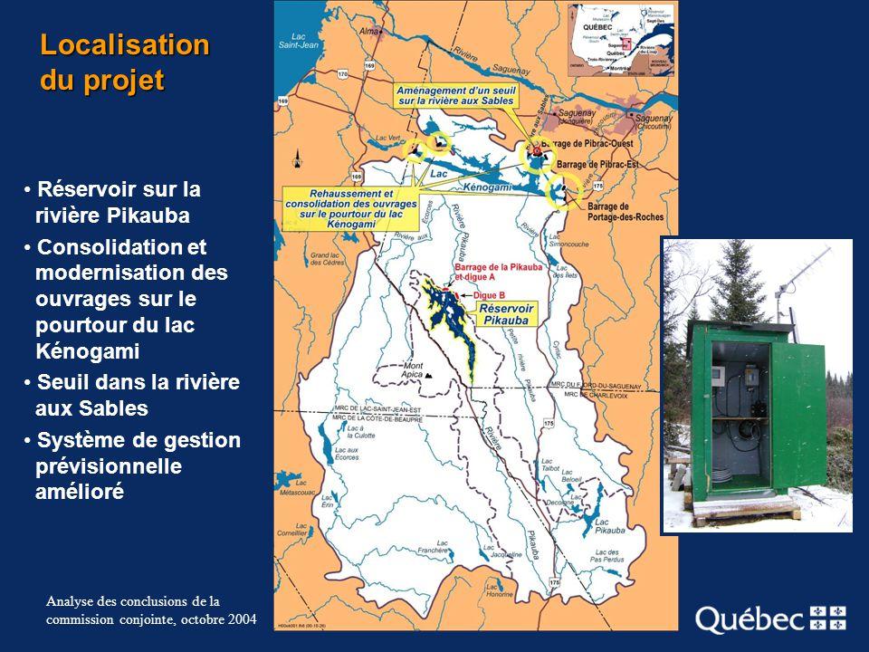 5 Analyse des conclusions de la commission conjointe, octobre 2004 Localisation du projet Réservoir sur la rivière Pikauba Consolidation et modernisat