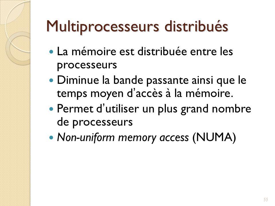 Multiprocesseurs distribués La mémoire est distribuée entre les processeurs Diminue la bande passante ainsi que le temps moyen daccès à la mémoire.