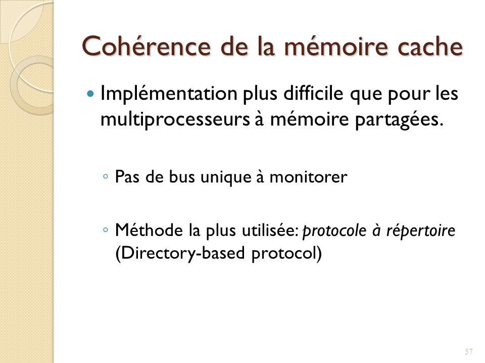 Cohérence de la mémoire cache Implémentation plus difficile que pour les multiprocesseurs à mémoire partagées.