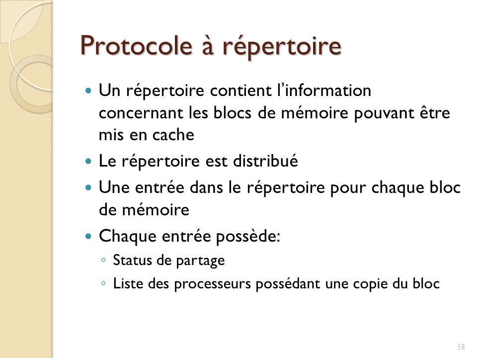 Protocole à répertoire Un répertoire contient linformation concernant les blocs de mémoire pouvant être mis en cache Le répertoire est distribué Une entrée dans le répertoire pour chaque bloc de mémoire Chaque entrée possède: Status de partage Liste des processeurs possédant une copie du bloc 58