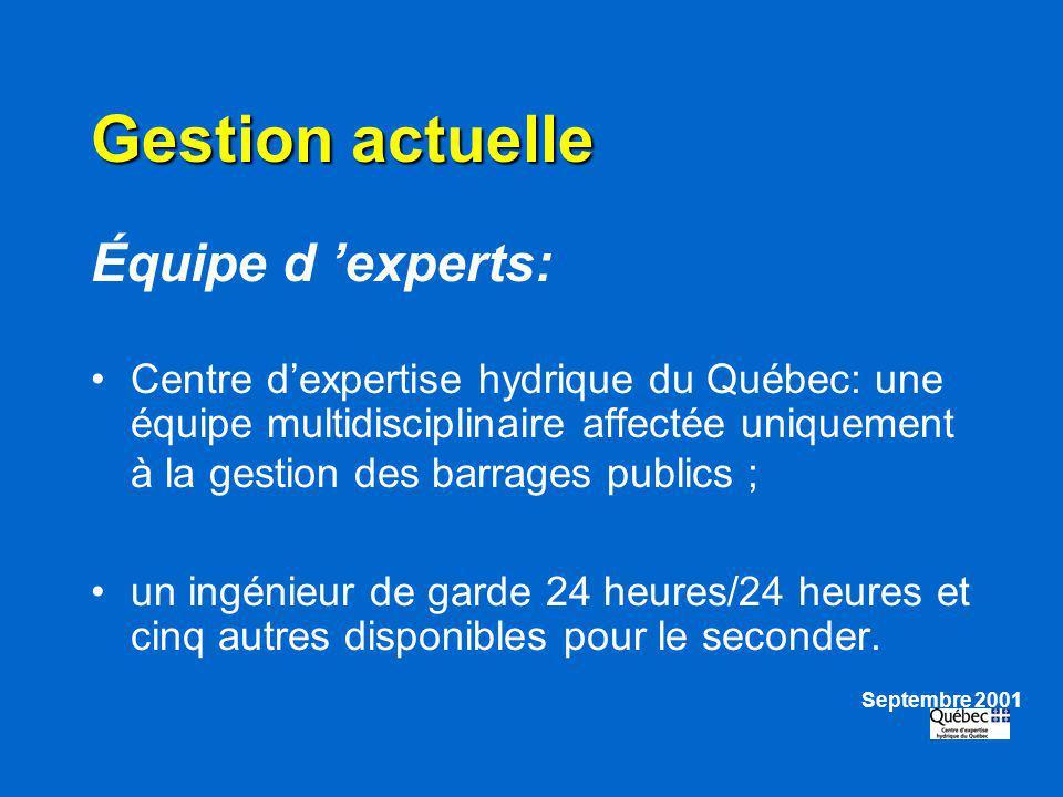 Gestion actuelle Équipe d experts: Centre dexpertise hydrique du Québec: une équipe multidisciplinaire affectée uniquement à la gestion des barrages p