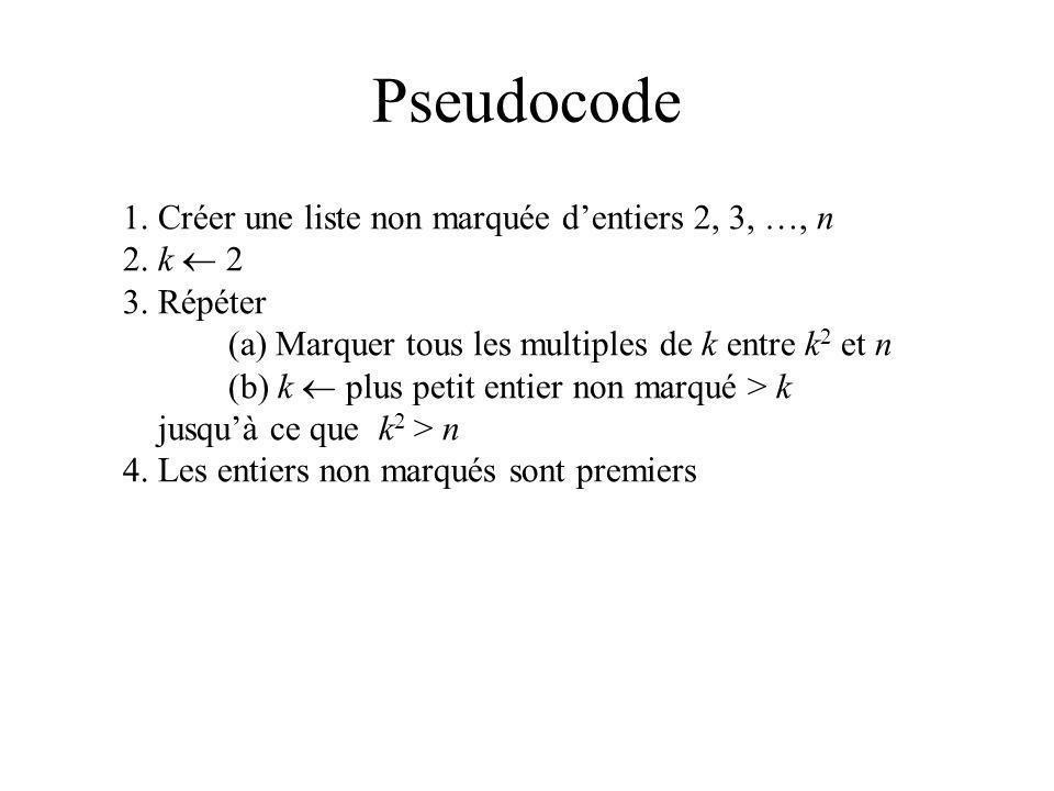 Rendre 3(a) Parallèle Marquer tous les multiple de k entre k 2 et n Pour tout j entre k 2 et n faire si j mod k = 0 alors marquer j // pas premier