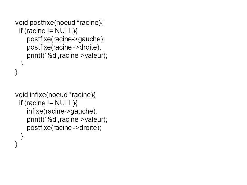 void postfixe(noeud *racine){ if (racine != NULL){ postfixe(racine->gauche); postfixe(racine ->droite); printf(%d,racine->valeur); } void infixe(noeud