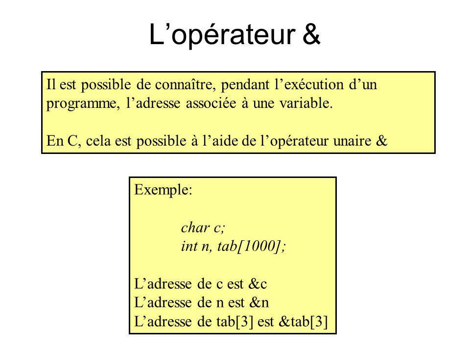Lopérateur & Il est possible de connaître, pendant lexécution dun programme, ladresse associée à une variable. En C, cela est possible à laide de lopé