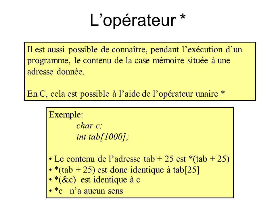 Lopérateur * Il est aussi possible de connaître, pendant lexécution dun programme, le contenu de la case mémoire située à une adresse donnée. En C, ce