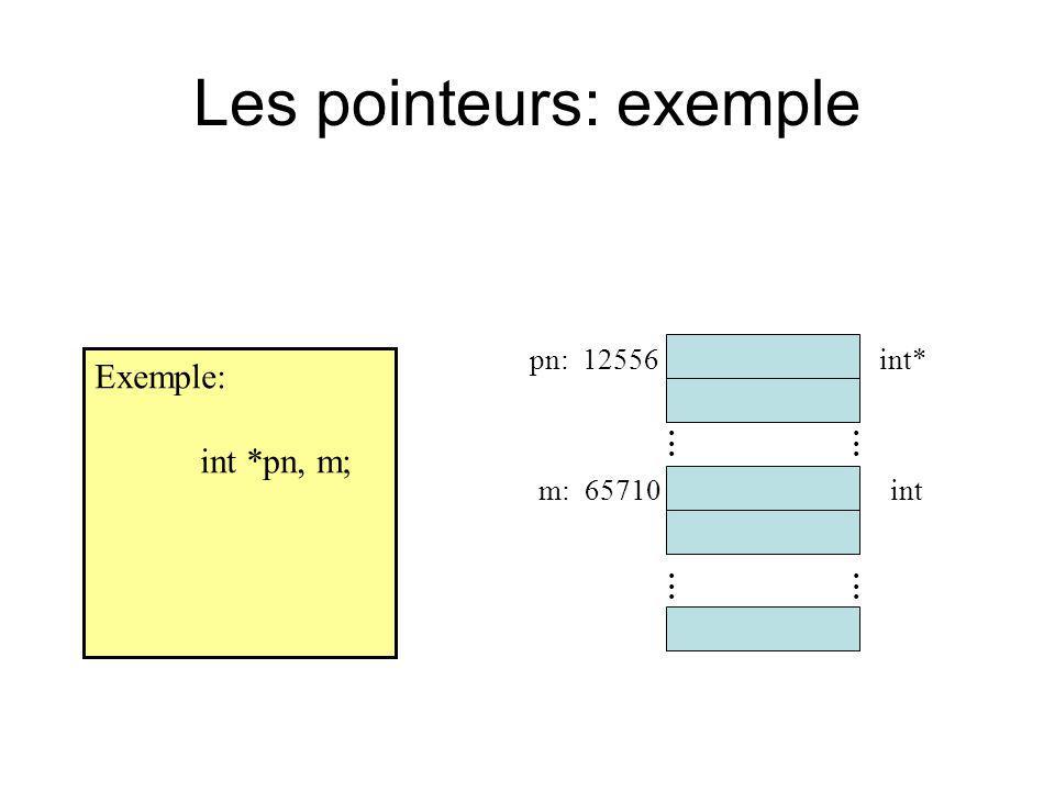 Les pointeurs: exemple Exemple: int *pn, m;............ pn: 12556 m: 65710 int*............ int