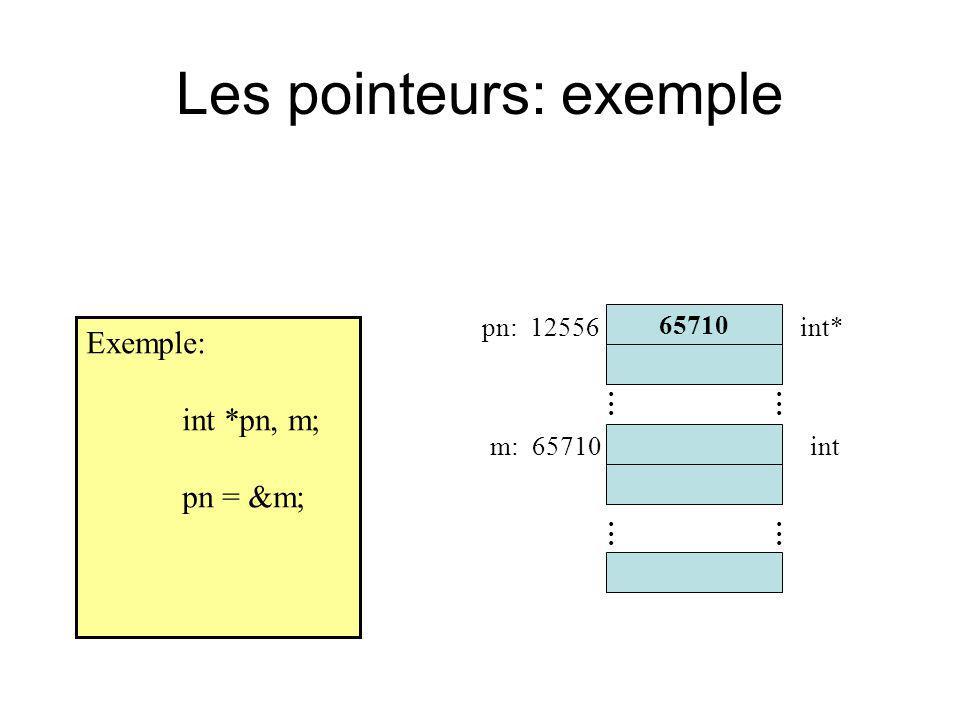Les pointeurs: exemple Exemple: int *pn, m; pn = &m; 65710............ pn: 12556 m: 65710 int*............ int