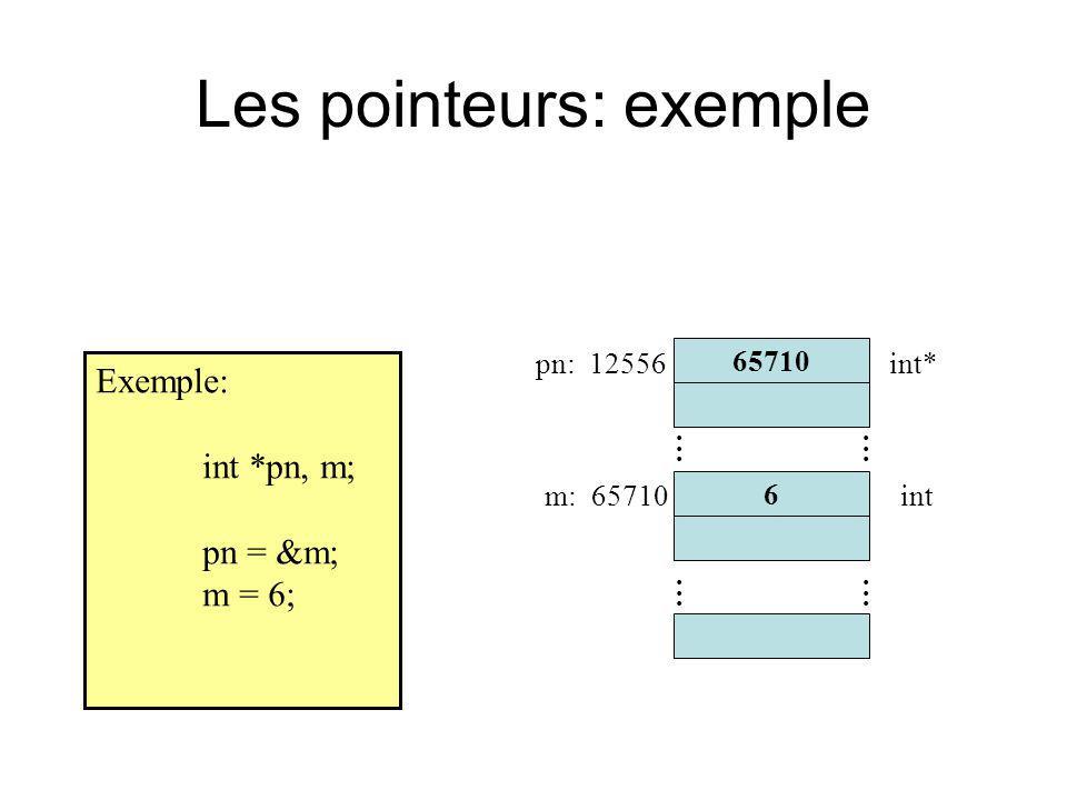 Les pointeurs: exemple Exemple: int *pn, m; pn = &m; m = 6; 65710............ 6 pn: 12556 m: 65710 int*............ int