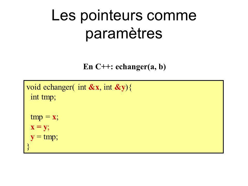 Les pointeurs comme paramètres void echanger( int &x, int &y){ int tmp; tmp = x; x = y; y = tmp; } En C++: echanger(a, b)