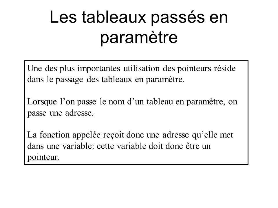 Les tableaux passés en paramètre Une des plus importantes utilisation des pointeurs réside dans le passage des tableaux en paramètre. Lorsque lon pass