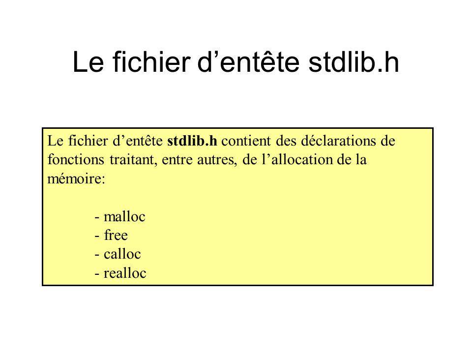 Le fichier dentête stdlib.h Le fichier dentête stdlib.h contient des déclarations de fonctions traitant, entre autres, de lallocation de la mémoire: -